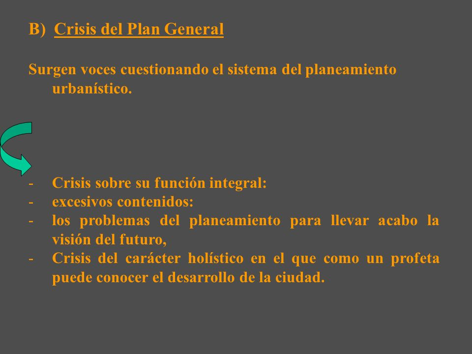 B) Crisis del Plan General