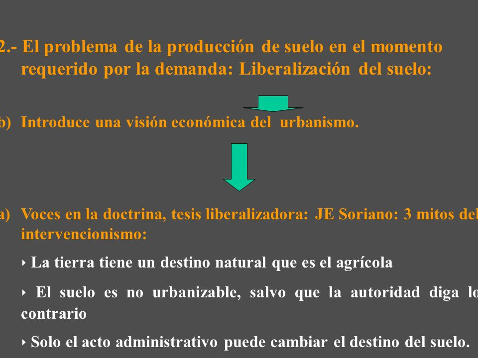 2.- El problema de la producción de suelo en el momento requerido por la demanda: Liberalización del suelo: