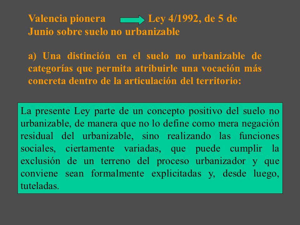 Valencia pionera Ley 4/1992, de 5 de Junio sobre suelo no urbanizable
