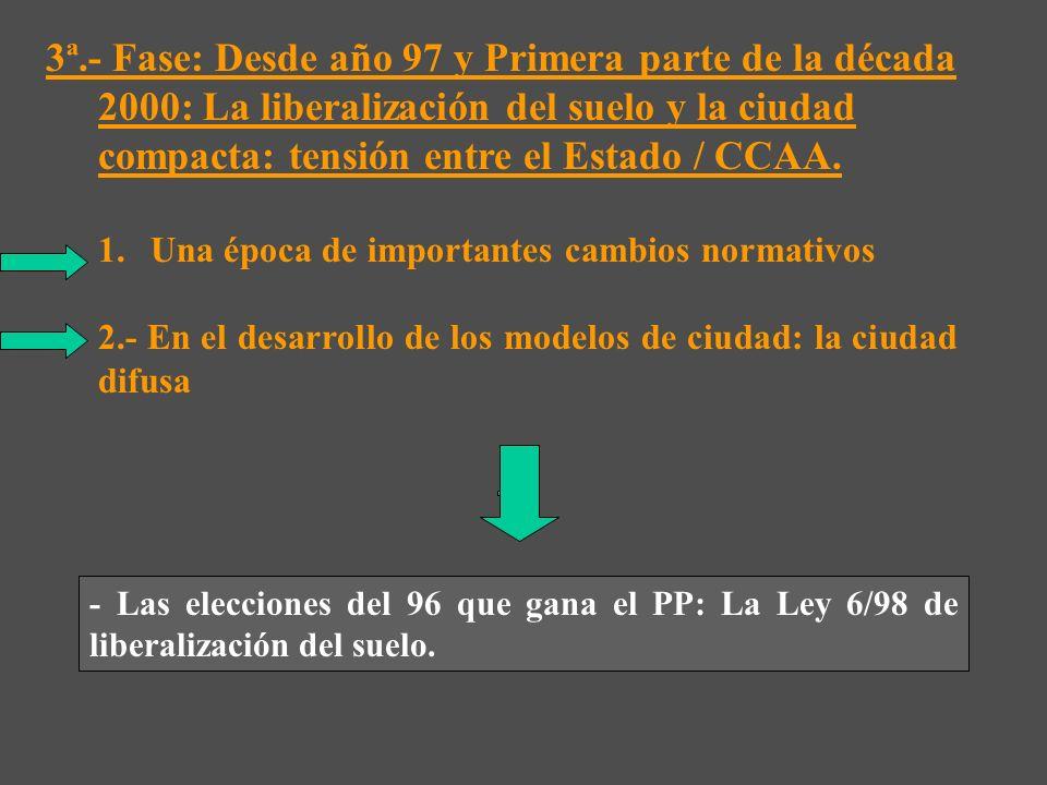 3ª.- Fase: Desde año 97 y Primera parte de la década 2000: La liberalización del suelo y la ciudad compacta: tensión entre el Estado / CCAA.
