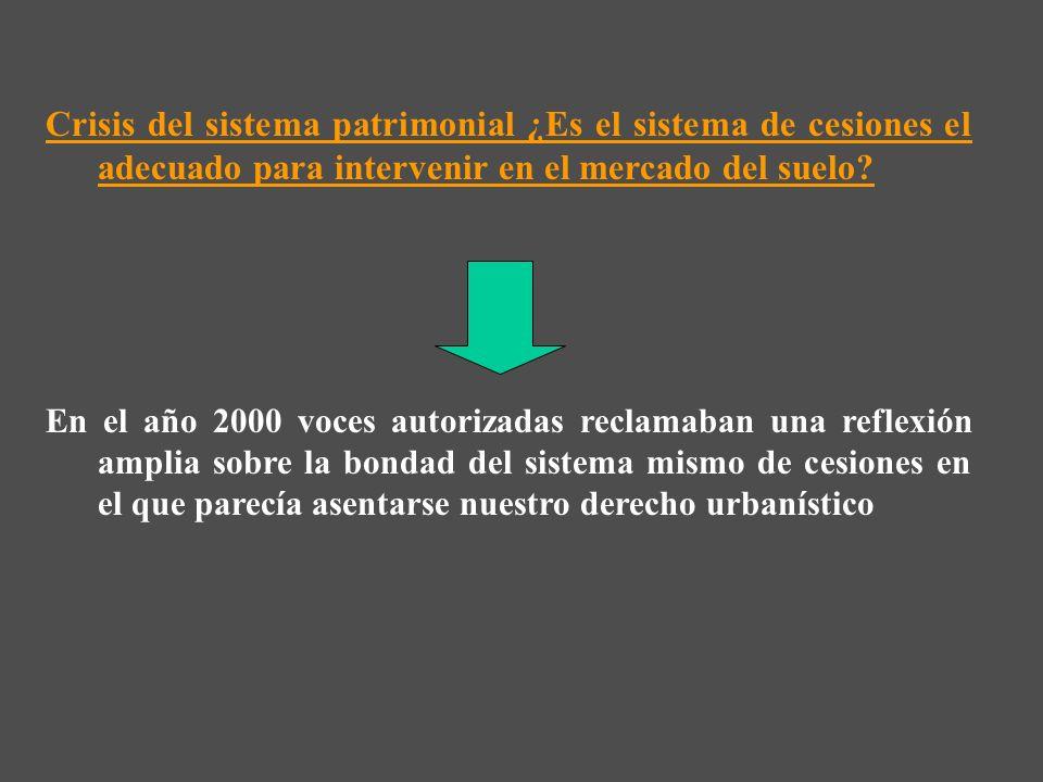 Crisis del sistema patrimonial ¿Es el sistema de cesiones el adecuado para intervenir en el mercado del suelo