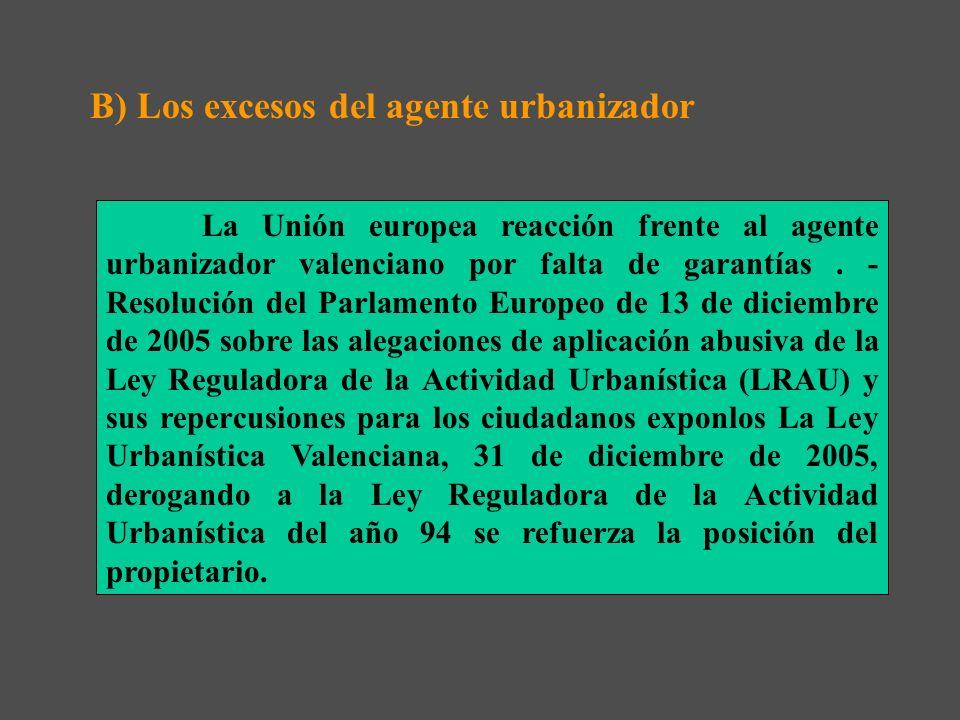 B) Los excesos del agente urbanizador