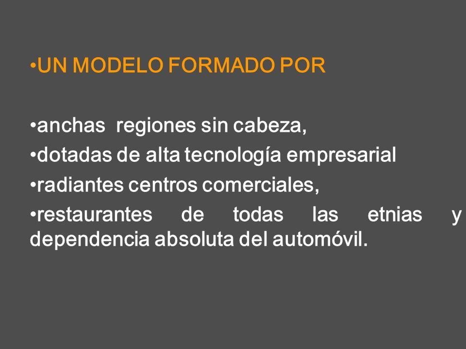 UN MODELO FORMADO POR anchas regiones sin cabeza, dotadas de alta tecnología empresarial. radiantes centros comerciales,