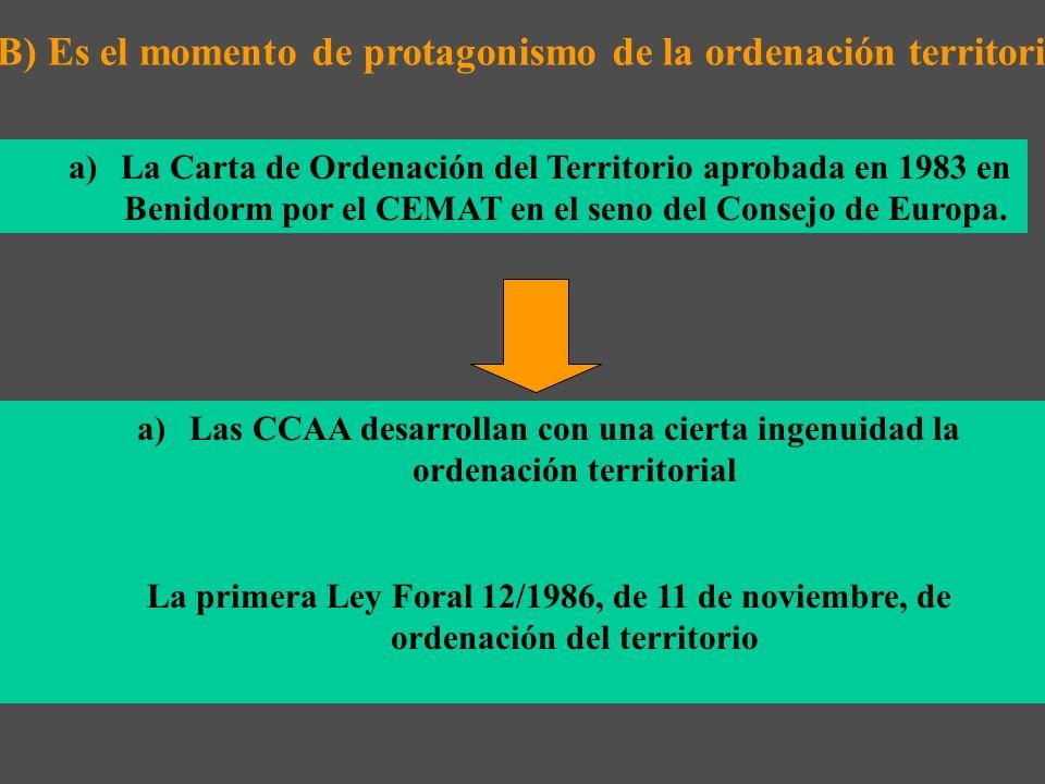 B) Es el momento de protagonismo de la ordenación territorial