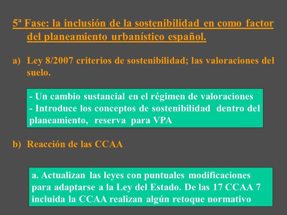 5ª Fase: la inclusión de la sostenibilidad en como factor del planeamiento urbanístico español.