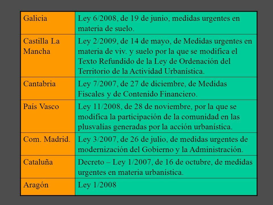 Galicia Ley 6/2008, de 19 de junio, medidas urgentes en materia de suelo. Castilla La Mancha.