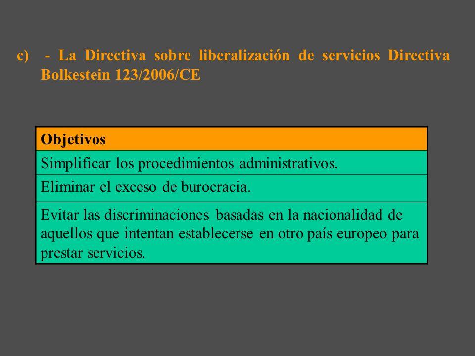 c) - La Directiva sobre liberalización de servicios Directiva Bolkestein 123/2006/CE