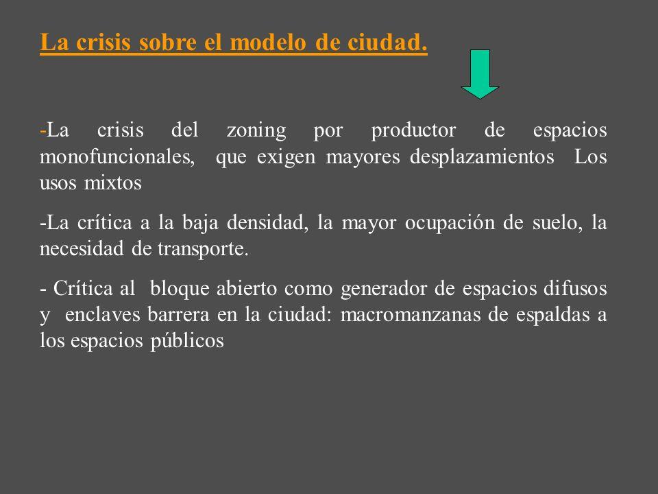 La crisis sobre el modelo de ciudad.