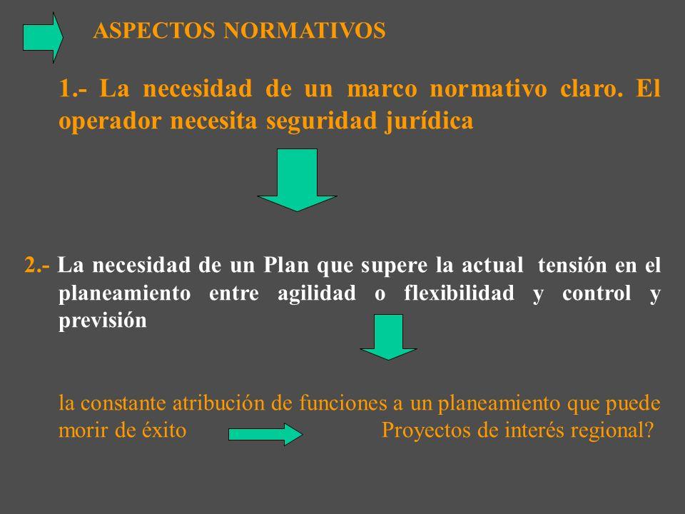 ASPECTOS NORMATIVOS 1.- La necesidad de un marco normativo claro. El operador necesita seguridad jurídica.