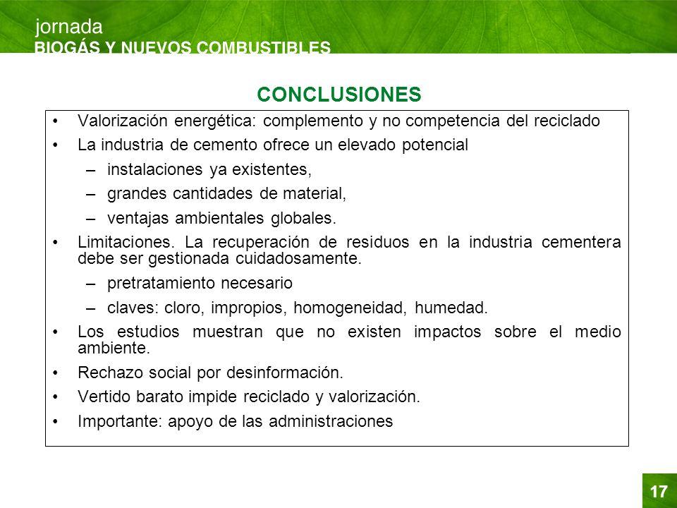 CONCLUSIONES Valorización energética: complemento y no competencia del reciclado. La industria de cemento ofrece un elevado potencial.