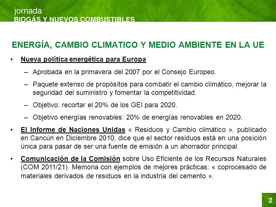 ENERGÍA, CAMBIO CLIMATICO Y MEDIO AMBIENTE EN LA UE