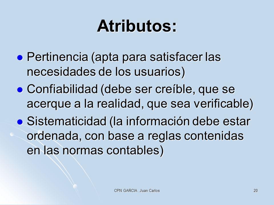 Atributos: Pertinencia (apta para satisfacer las necesidades de los usuarios)