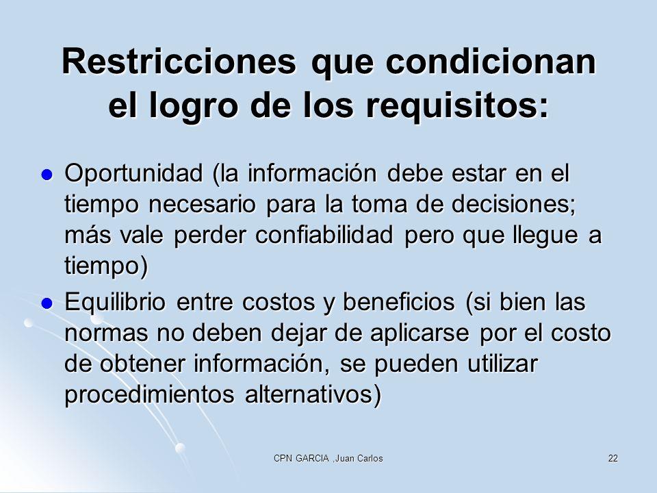 Restricciones que condicionan el logro de los requisitos: