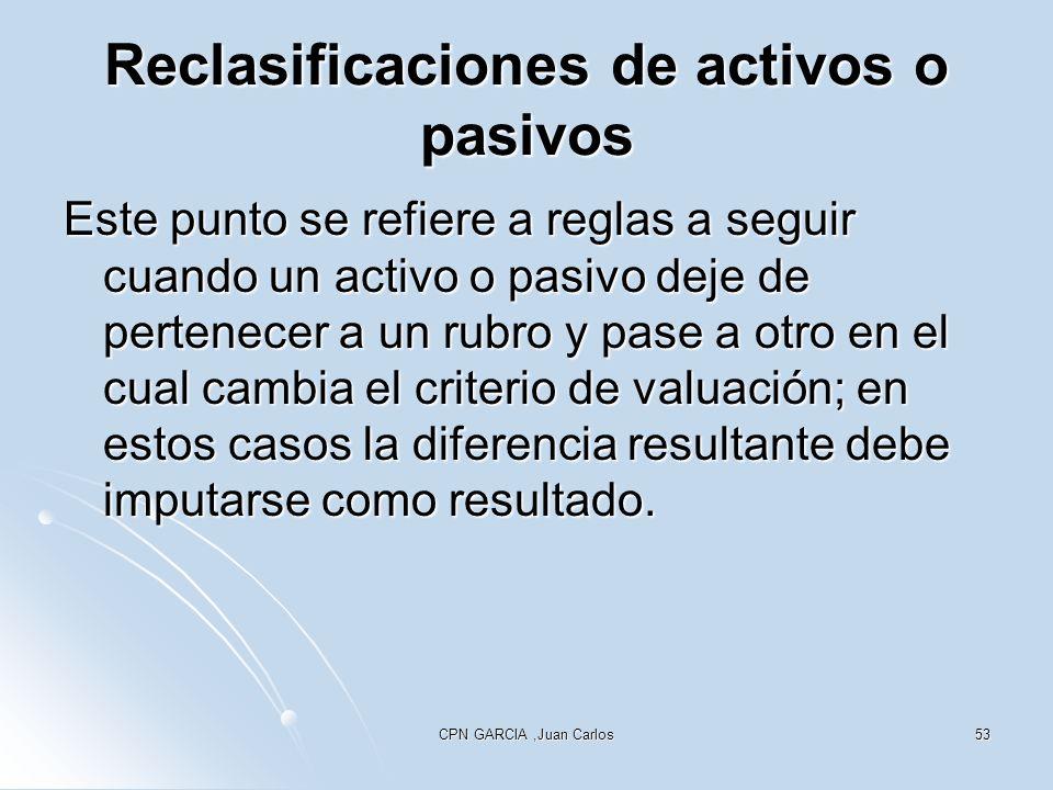 Reclasificaciones de activos o pasivos