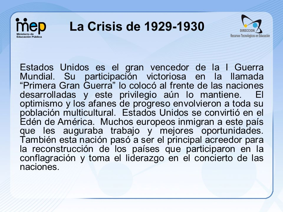 La Crisis de 1929-1930