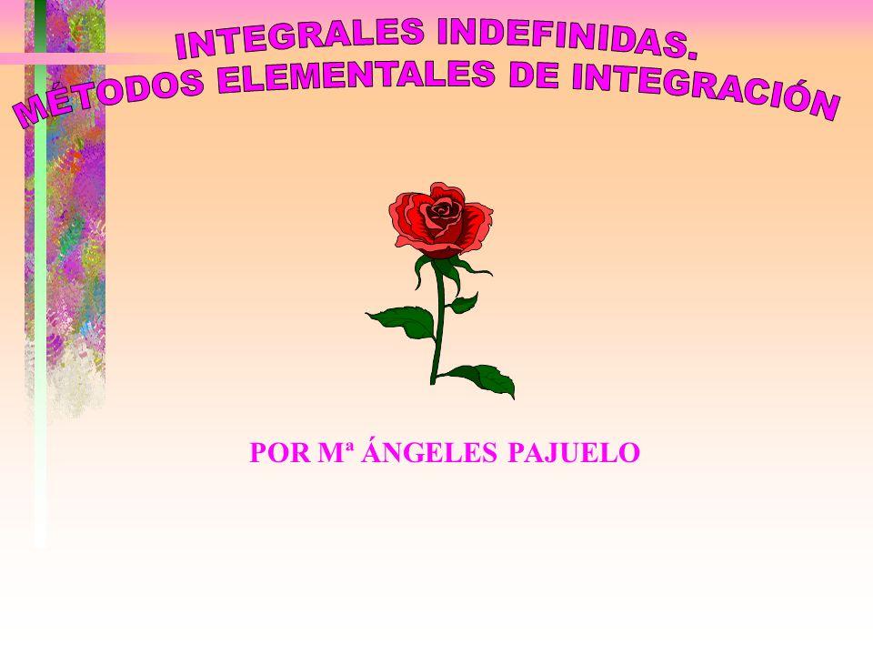 INTEGRALES INDEFINIDAS. MÉTODOS ELEMENTALES DE INTEGRACIÓN