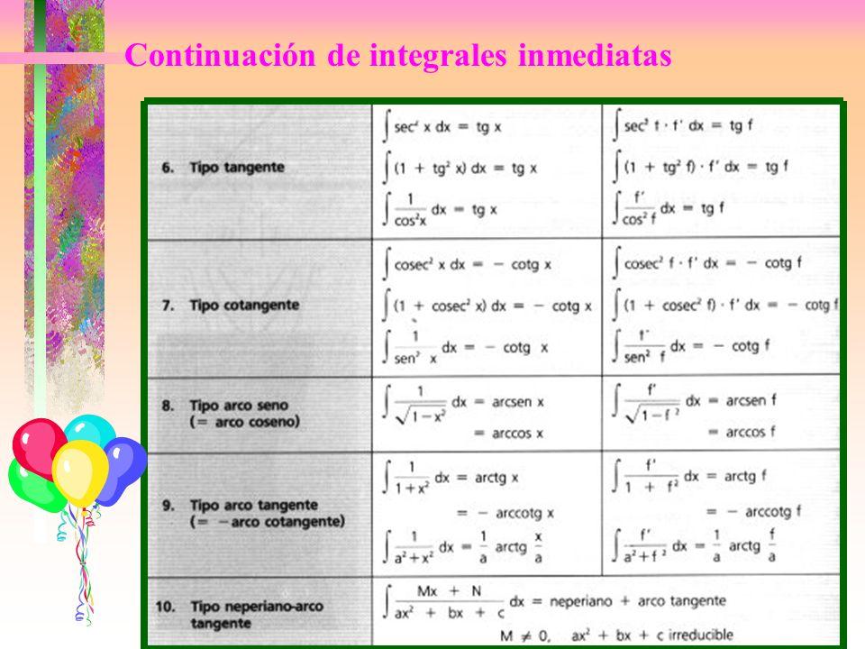 Continuación de integrales inmediatas