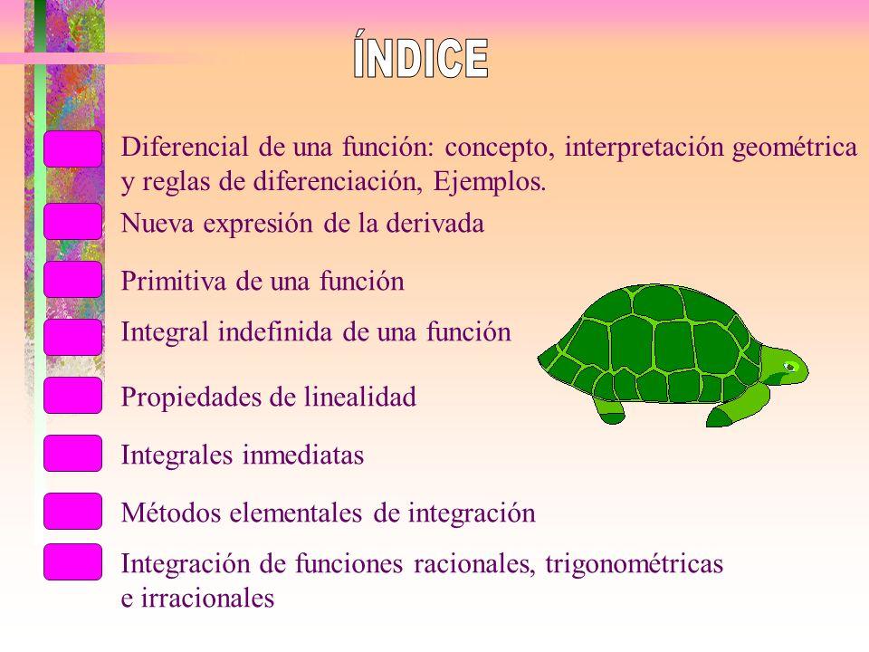 ÍNDICE Diferencial de una función: concepto, interpretación geométrica