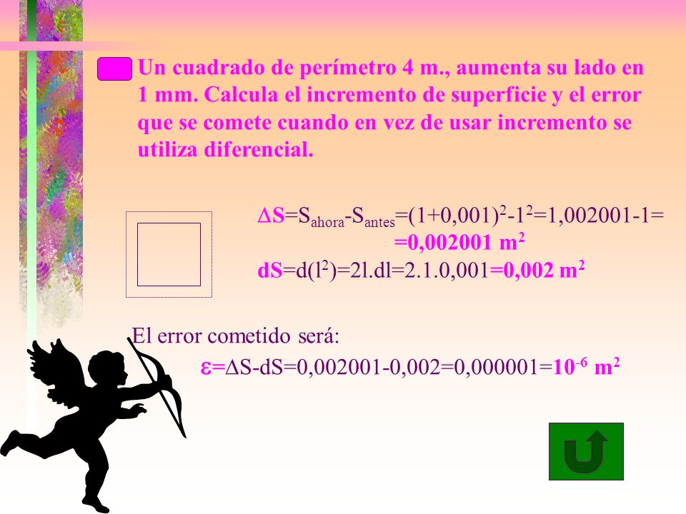 Un cuadrado de perímetro 4 m., aumenta su lado en