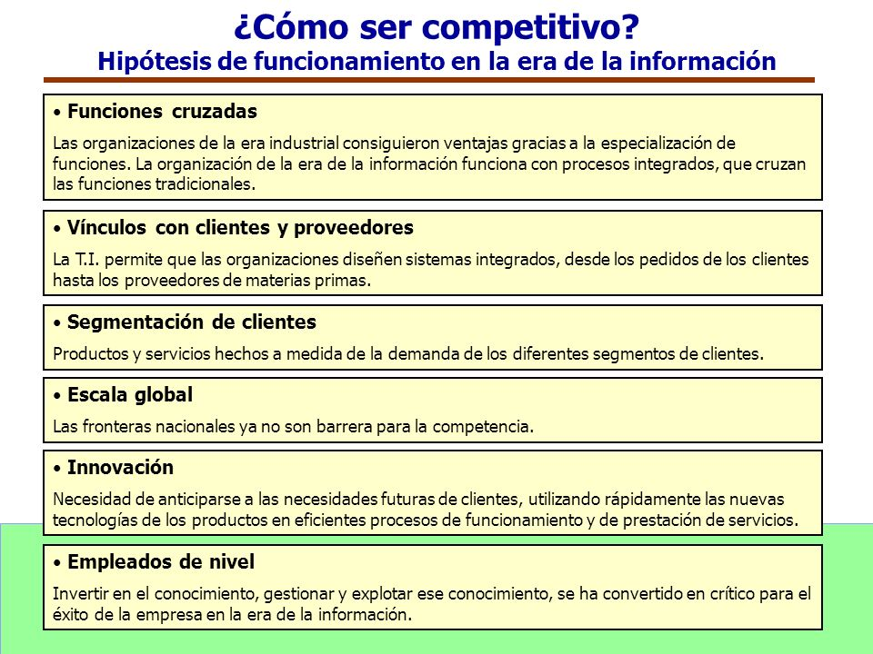 ¿Cómo ser competitivo Hipótesis de funcionamiento en la era de la información