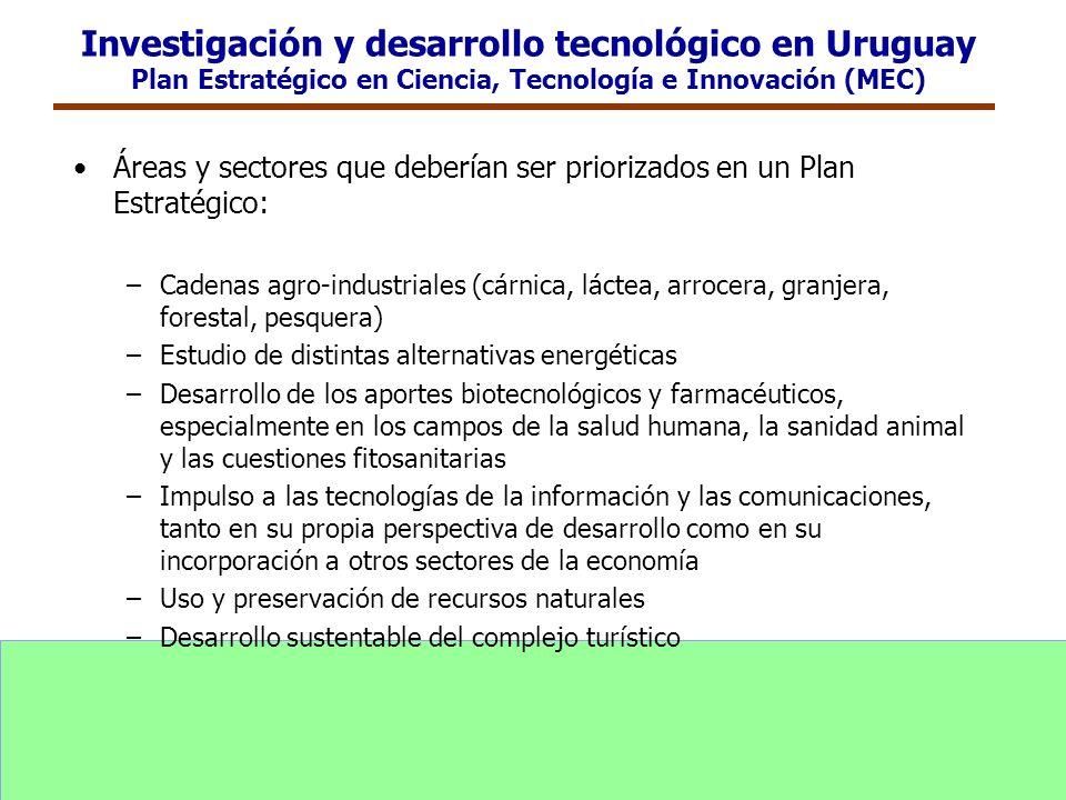 Investigación y desarrollo tecnológico en Uruguay Plan Estratégico en Ciencia, Tecnología e Innovación (MEC)