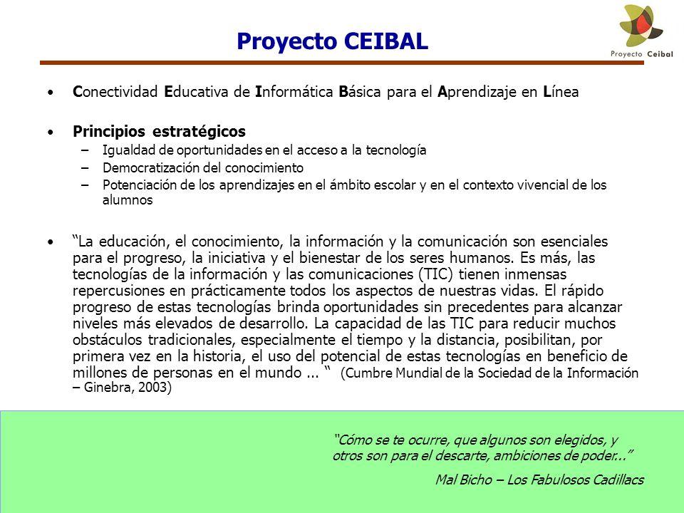 Proyecto CEIBAL Conectividad Educativa de Informática Básica para el Aprendizaje en Línea. Principios estratégicos.