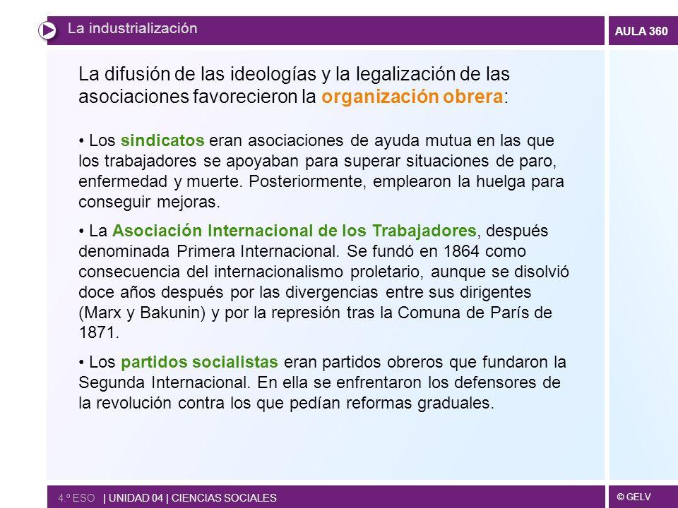 La industrialización La difusión de las ideologías y la legalización de las asociaciones favorecieron la organización obrera: