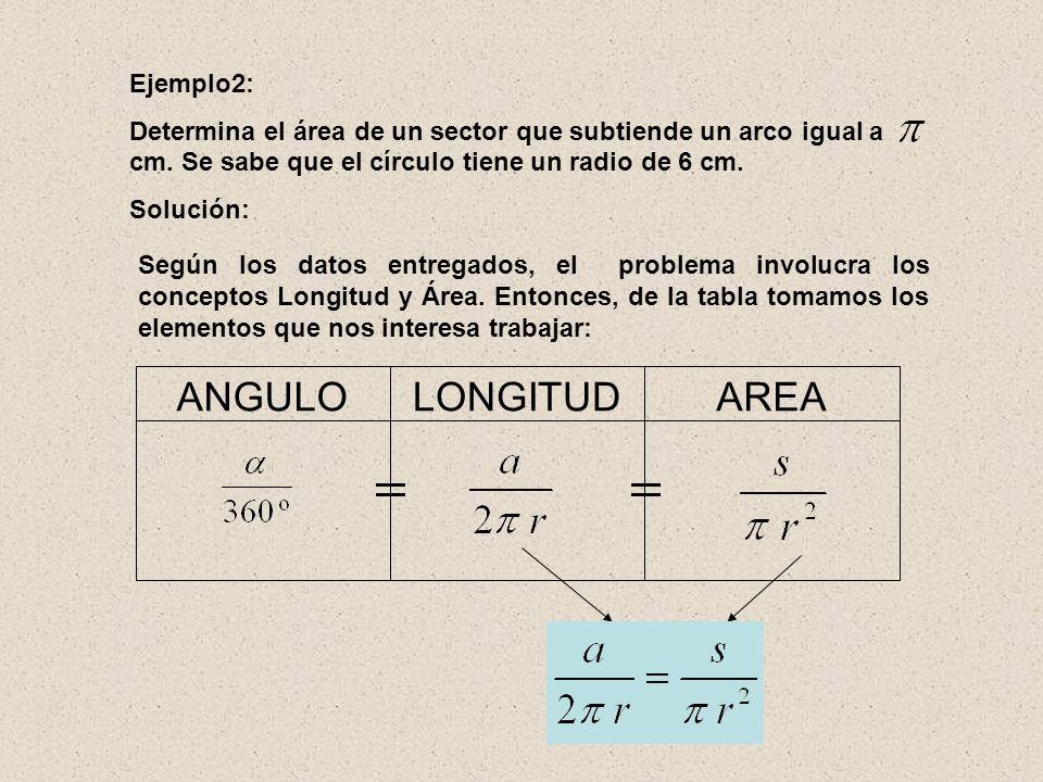 AREA LONGITUD ANGULO Ejemplo2: