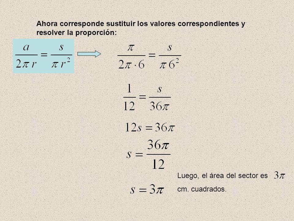 Ahora corresponde sustituir los valores correspondientes y resolver la proporción: