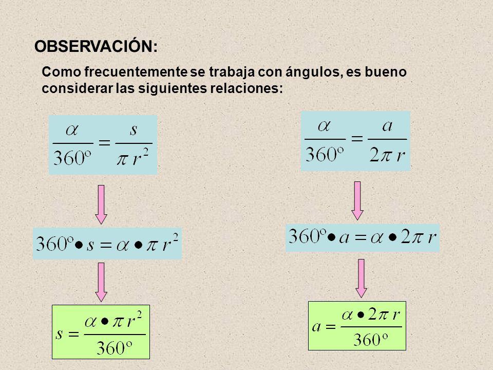 OBSERVACIÓN: Como frecuentemente se trabaja con ángulos, es bueno considerar las siguientes relaciones: