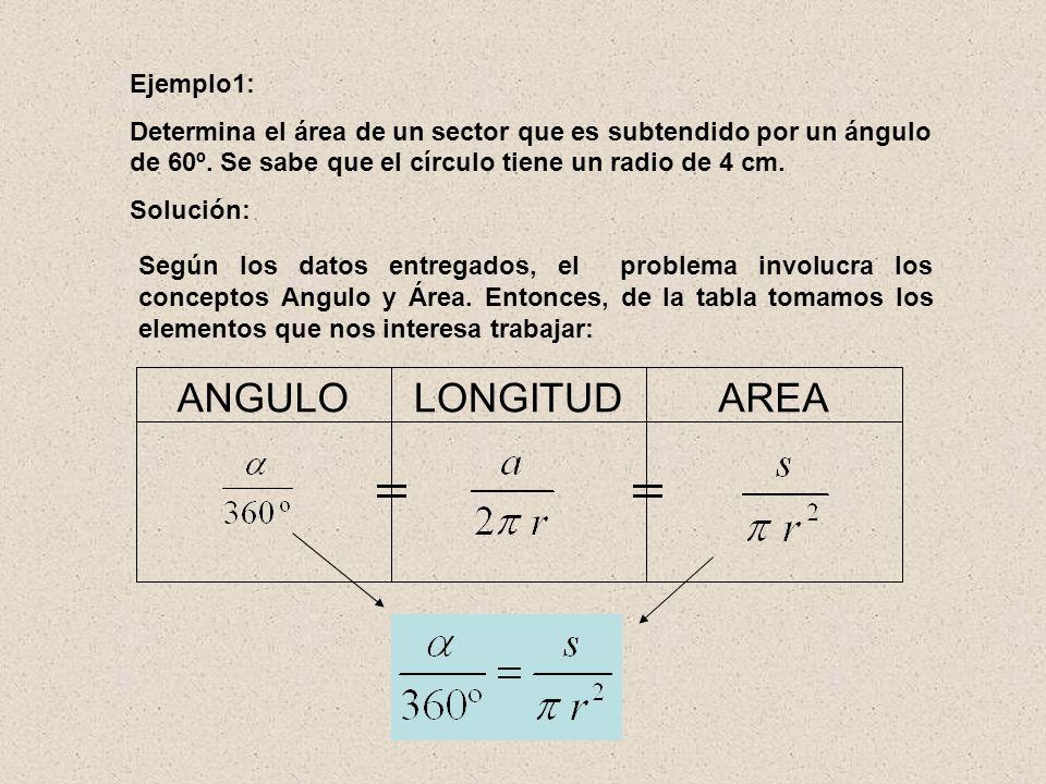 AREA LONGITUD ANGULO Ejemplo1: