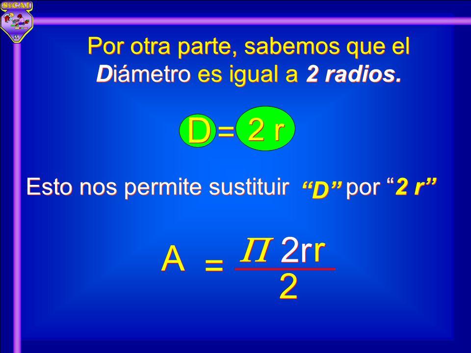 Por otra parte, sabemos que el Diámetro es igual a 2 radios.
