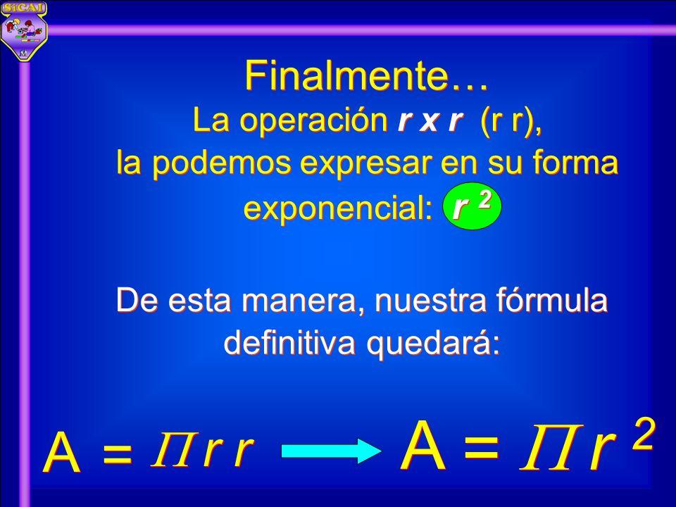 A  r 2 = A =  r r Finalmente… La operación r x r (r r),