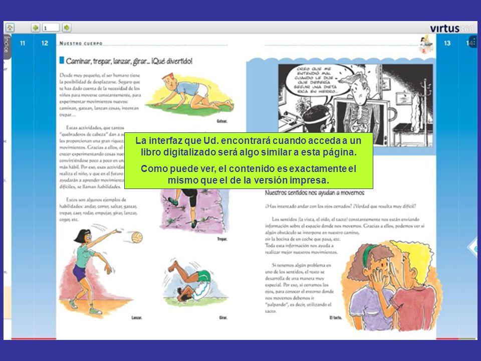 La interfaz que Ud. encontrará cuando acceda a un libro digitalizado será algo similar a esta página.