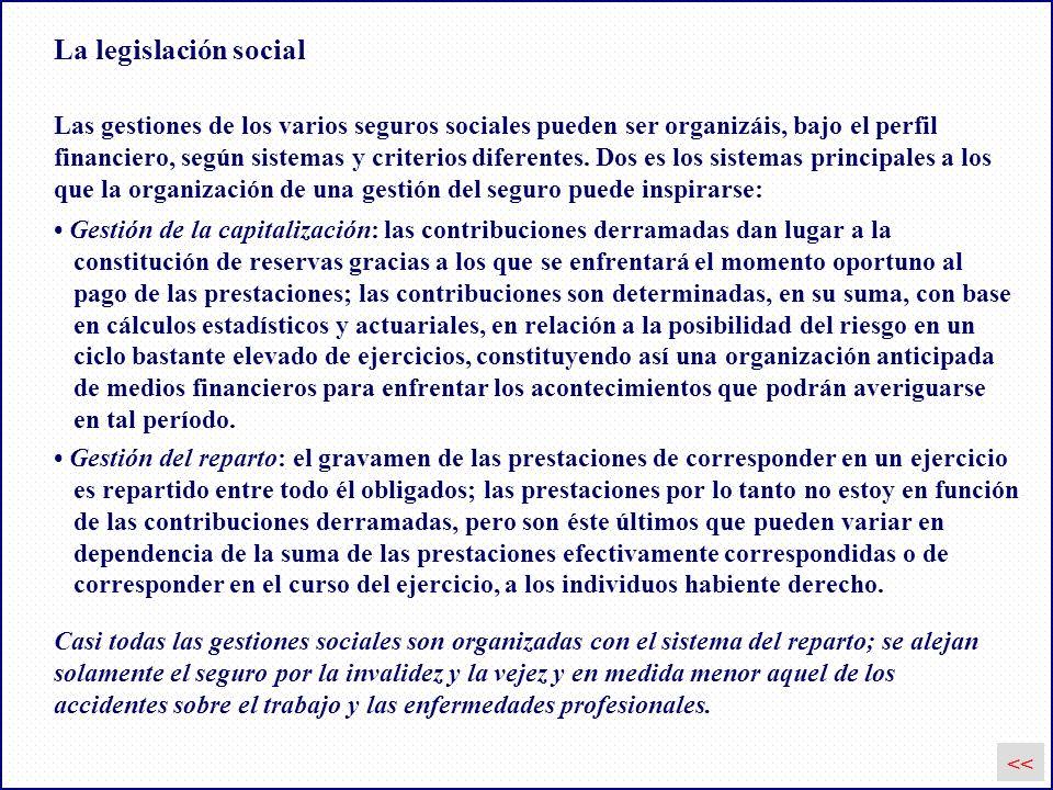 La legislación social Las gestiones de los varios seguros sociales pueden ser organizáis, bajo el perfil.