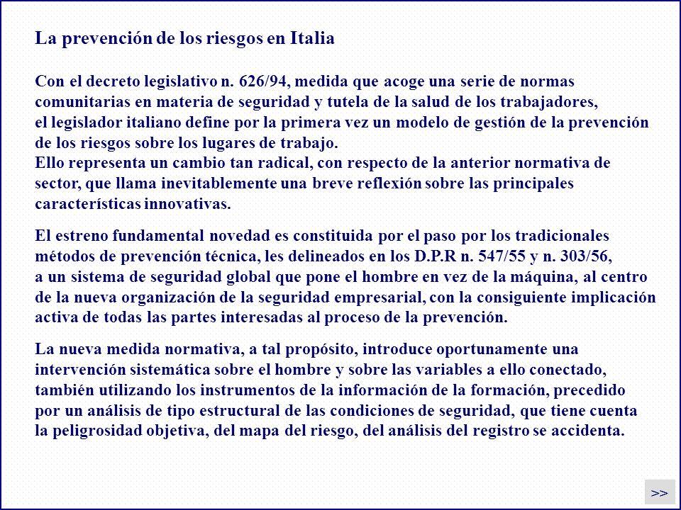 La prevención de los riesgos en Italia