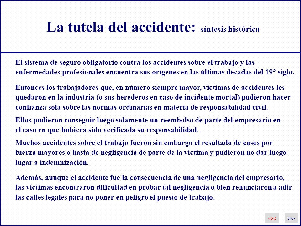 La tutela del accidente: síntesis histórica