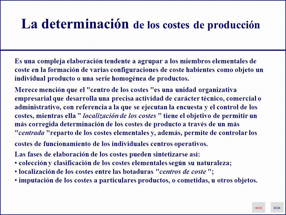La determinación de los costes de producción