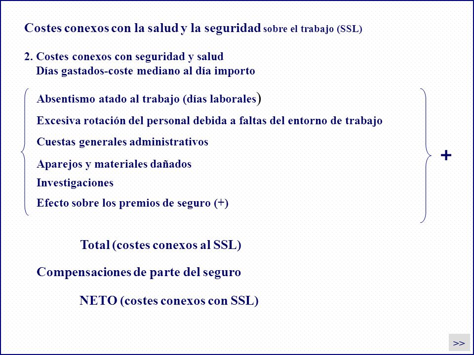 Costes conexos con la salud y la seguridad sobre el trabajo (SSL)