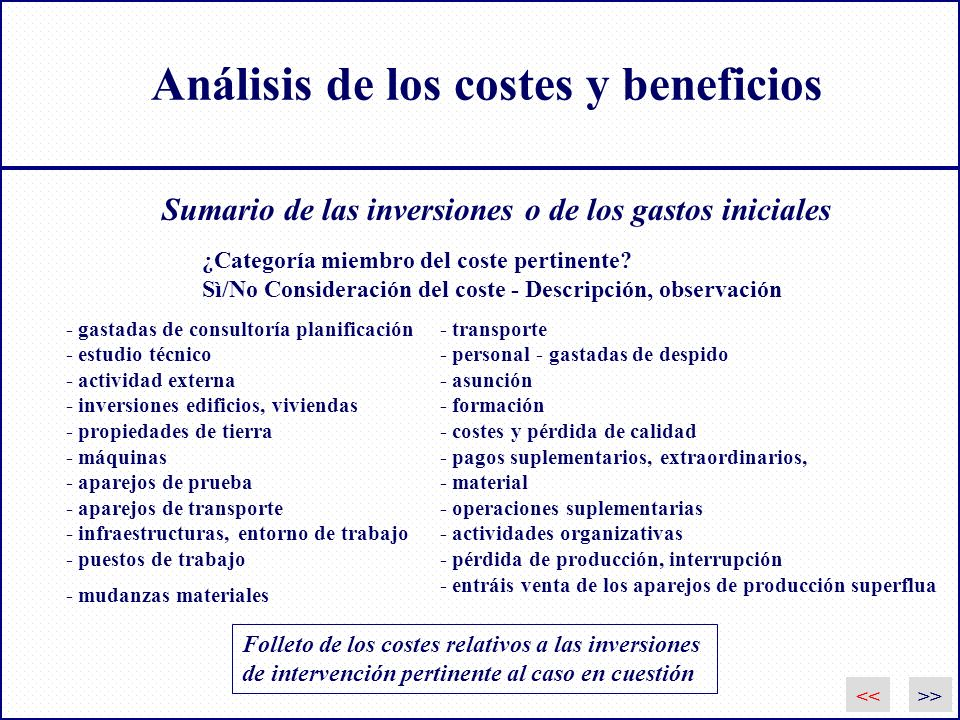 Análisis de los costes y beneficios