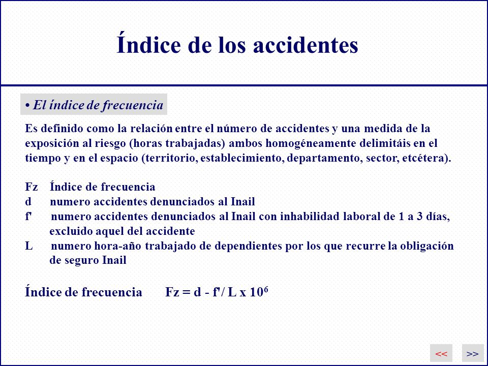 Índice de los accidentes