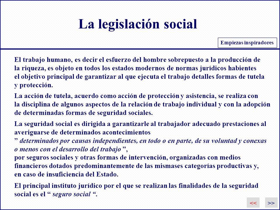 La legislación social Empiezas inspiradores. El trabajo humano, es decir el esfuerzo del hombre sobrepuesto a la producción de.