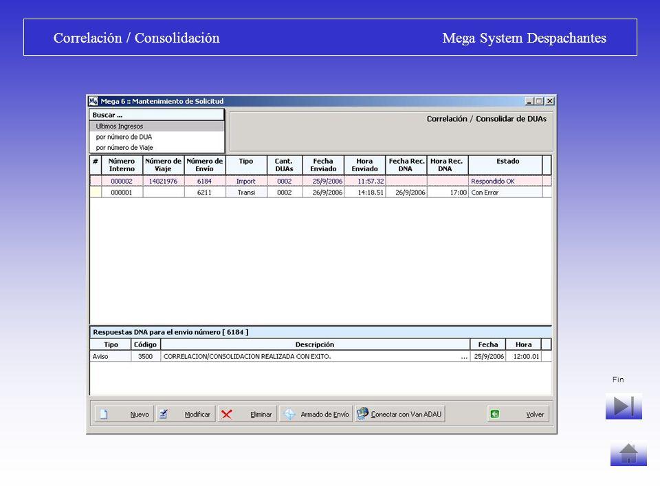 Correlación / Consolidación Mega System Despachantes