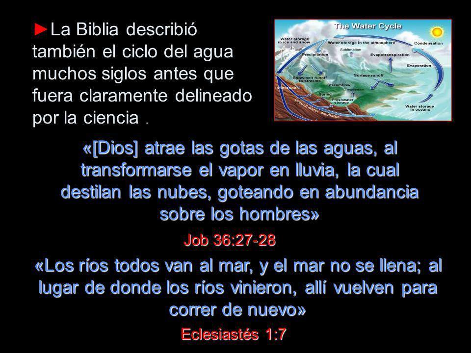 ►La Biblia describió también el ciclo del agua muchos siglos antes que fuera claramente delineado por la ciencia .