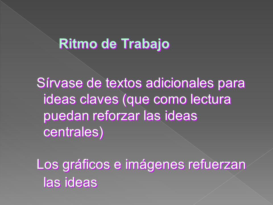 Ritmo de Trabajo Sírvase de textos adicionales para ideas claves (que como lectura puedan reforzar las ideas centrales)