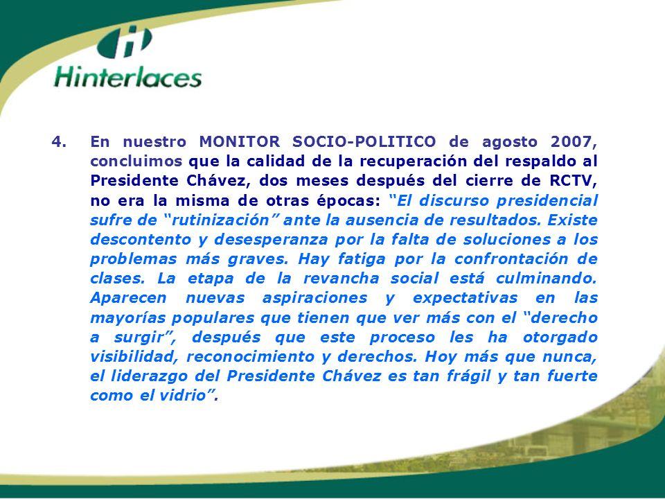 4. En nuestro MONITOR SOCIO-POLITICO de agosto 2007, concluimos que la calidad de la recuperación del respaldo al Presidente Chávez, dos meses después del cierre de RCTV, no era la misma de otras épocas: El discurso presidencial sufre de rutinización ante la ausencia de resultados.