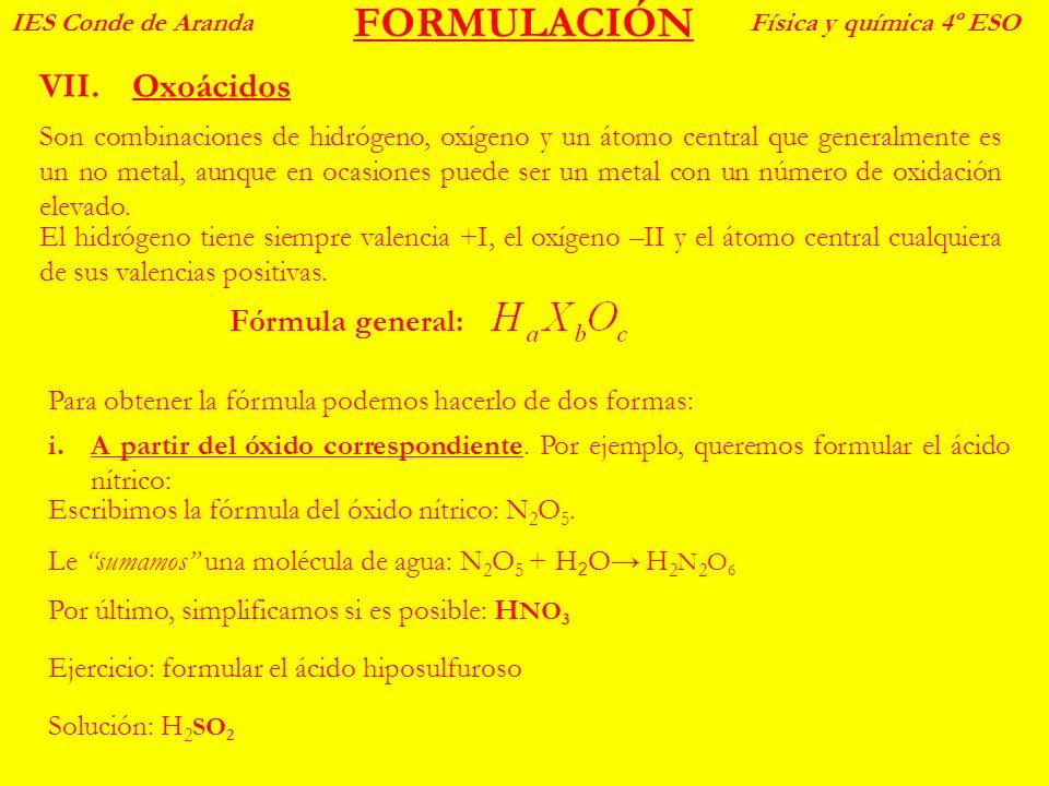 FORMULACIÓN Oxoácidos Fórmula general: