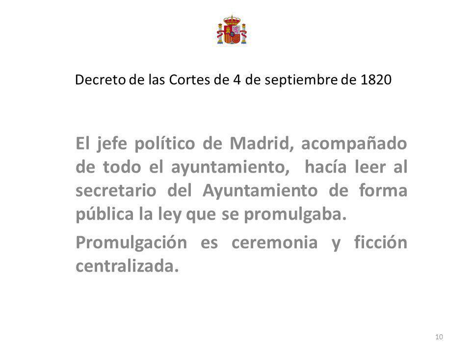 Decreto de las Cortes de 4 de septiembre de 1820