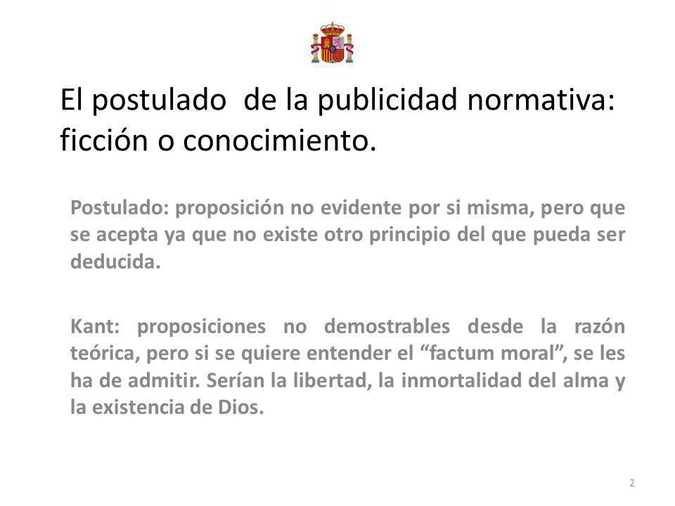 El postulado de la publicidad normativa: ficción o conocimiento.
