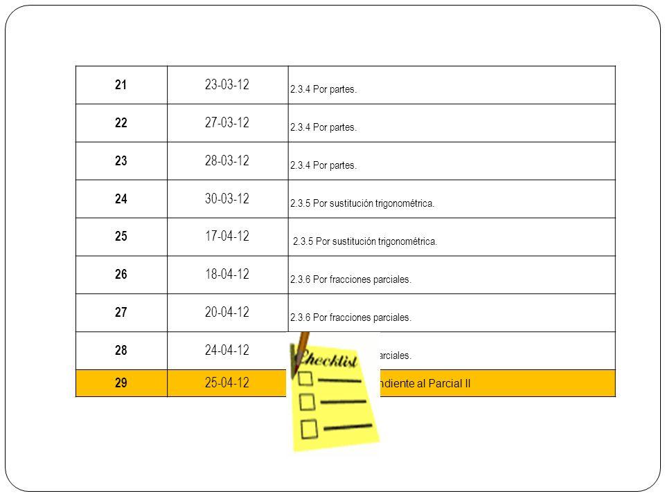 21 23-03-12. 2.3.4 Por partes. 22. 27-03-12. 23. 28-03-12. 24. 30-03-12. 2.3.5 Por sustitución trigonométrica.